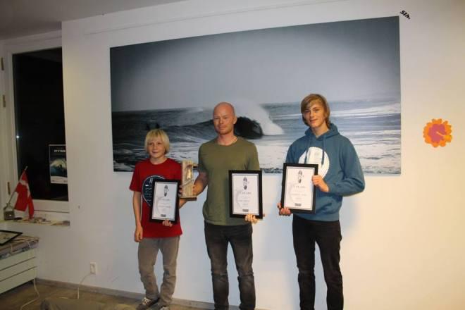 Mads Ejstrup på en 1. plads, Christian Andersen på en 2. plads og Christoffer Holler på en 3. plads. Foto: DSRF